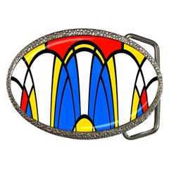 Colorful Distorted Shapes Belt Buckle