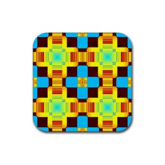 Abstract Yellow Flowers Rubber Square Coaster (4 Pack) by LalyLauraFLM