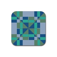 Green Blue Shapes Rubber Coaster (square) by LalyLauraFLM