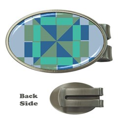 Green Blue Shapes Money Clip (oval) by LalyLauraFLM