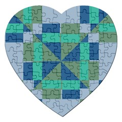 Green Blue Shapes Jigsaw Puzzle (heart) by LalyLauraFLM