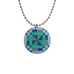 Green Blue Shapes 1  Button Necklace by LalyLauraFLM