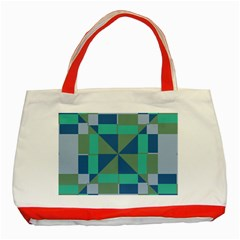 Green blue shapes Classic Tote Bag (Red) by LalyLauraFLM