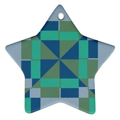 Green Blue Shapes Star Ornament (two Sides) by LalyLauraFLM