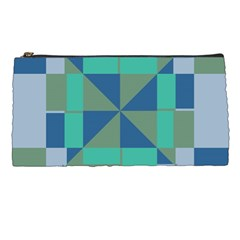 Green Blue Shapes Pencil Case by LalyLauraFLM
