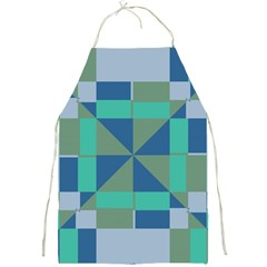Green Blue Shapes Full Print Apron by LalyLauraFLM