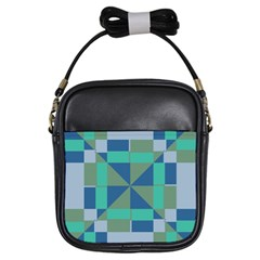 Green Blue Shapes Girls Sling Bag by LalyLauraFLM