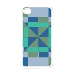Green Blue Shapes Apple Iphone 4 Case (white) by LalyLauraFLM