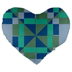 Green Blue Shapes Large 19  Premium Heart Shape Cushion by LalyLauraFLM