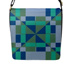 Green Blue Shapes Flap Closure Messenger Bag (l) by LalyLauraFLM