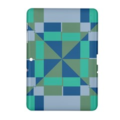 Green Blue Shapes Samsung Galaxy Tab 2 (10 1 ) P5100 Hardshell Case  by LalyLauraFLM
