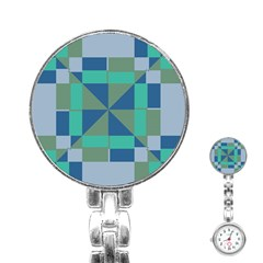 Green Blue Shapes Stainless Steel Nurses Watch by LalyLauraFLM