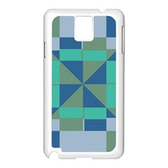 Green Blue Shapes Samsung Galaxy Note 3 N9005 Case (white) by LalyLauraFLM