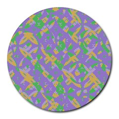 Mixed Shapes Round Mousepad by LalyLauraFLM