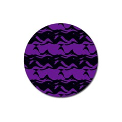 Mauve Black Waves Magnet 3  (round) by LalyLauraFLM