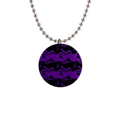 Mauve Black Waves 1  Button Necklace by LalyLauraFLM