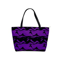 Mauve Black Waves Classic Shoulder Handbag by LalyLauraFLM