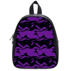 Mauve Black Waves School Bag (small) by LalyLauraFLM