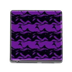 Mauve Black Waves Memory Card Reader (square) by LalyLauraFLM