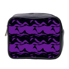 Mauve Black Waves Mini Toiletries Bag (two Sides) by LalyLauraFLM