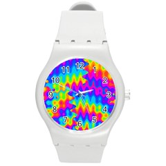 Amazing Acid Rainbow Round Plastic Sport Watch (m) by KirstenStar