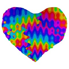 Amazing Acid Rainbow Large 19  Premium Heart Shape Cushions by KirstenStar