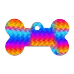 Psychedelic Rainbow Heat Waves Dog Tag Bone (two Sides) by KirstenStar