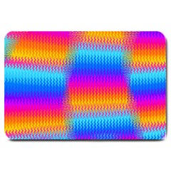 Psychedelic Rainbow Heat Waves Large Doormat  by KirstenStar