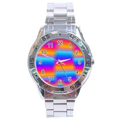 Psychedelic Rainbow Heat Waves Stainless Steel Men s Watch by KirstenStar