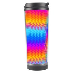 Psychedelic Rainbow Heat Waves Travel Tumblers by KirstenStar