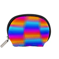 Psychedelic Rainbow Heat Waves Accessory Pouches (small)  by KirstenStar