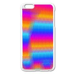 Psychedelic Rainbow Heat Waves Apple Iphone 6 Plus Enamel White Case by KirstenStar