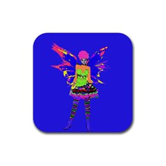 Fairy Punk Rubber Square Coaster (4 Pack)  by icarusismartdesigns