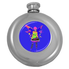 Fairy Punk Round Hip Flask (5 Oz) by icarusismartdesigns