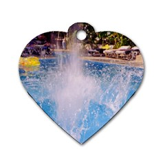 Splash 3 Dog Tag Heart (one Side) by icarusismartdesigns