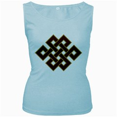 Buddhist Endless Knot Auspicious Symbol Women s Baby Blue Tank Top by CrypticFragmentsColors