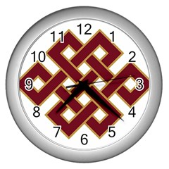 Buddhist Endless Knot Auspicious Symbol Wall Clock (silver) by CrypticFragmentsColors