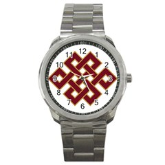 Buddhist Endless Knot Auspicious Symbol Sport Metal Watch