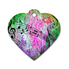 Abstract Music  Dog Tag Heart (one Side)