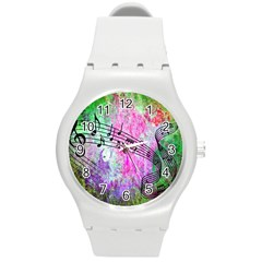 Abstract Music  Round Plastic Sport Watch (m) by ImpressiveMoments