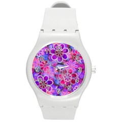 Pretty Floral Painting Round Plastic Sport Watch (m) by KirstenStar