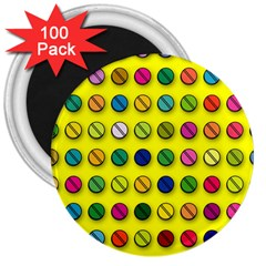 Multi Col Pills Pattern 3  Magnets (100 Pack) by ScienceGeek