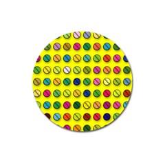 Multi Col Pills Pattern Magnet 3  (Round) by ScienceGeek