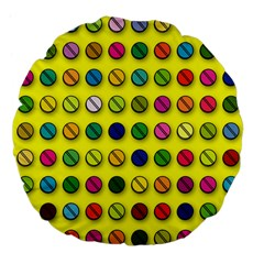 Multi Col Pills Pattern Large 18  Premium Flano Round Cushions by ScienceGeek