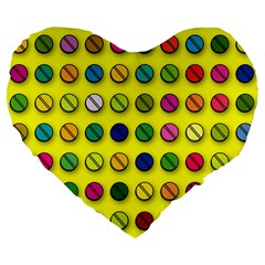 Multi Col Pills Pattern Large 19  Premium Flano Heart Shape Cushions by ScienceGeek