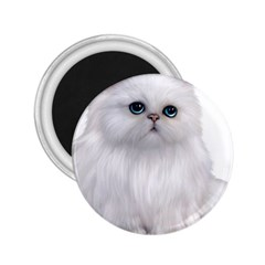 White Persian Cat Clipart 2.25  Magnets by AlteredStates