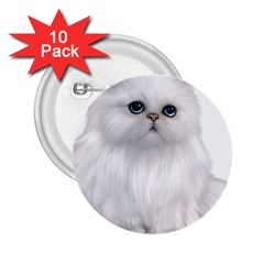 White Persian Cat Clipart 2.25  Buttons (10 pack)  by AlteredStates