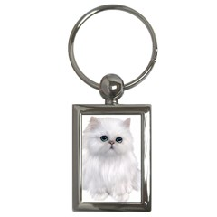 White Persian Cat Clipart Key Chains (rectangle)  by AlteredStates