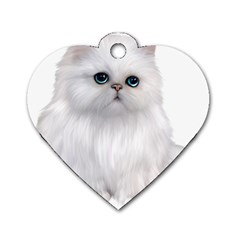 White Persian Cat Clipart Dog Tag Heart (two Sides) by AlteredStates