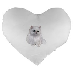 White Persian Cat Clipart Large 19  Premium Heart Shape Cushions by AlteredStates